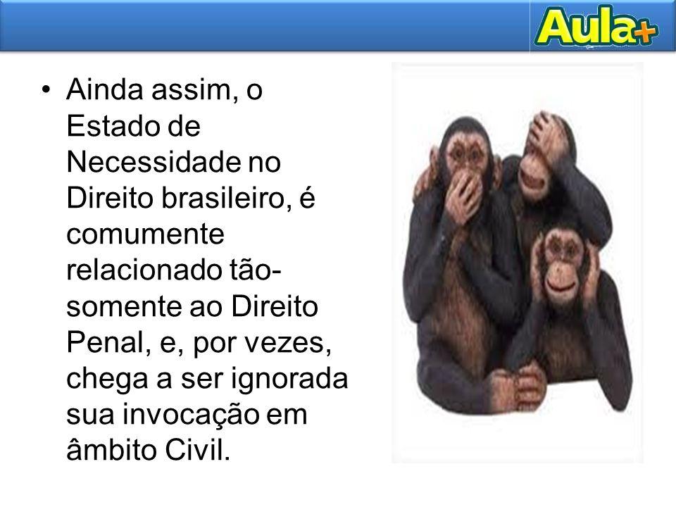 Ainda assim, o Estado de Necessidade no Direito brasileiro, é comumente relacionado tão-somente ao Direito Penal, e, por vezes, chega a ser ignorada sua invocação em âmbito Civil.