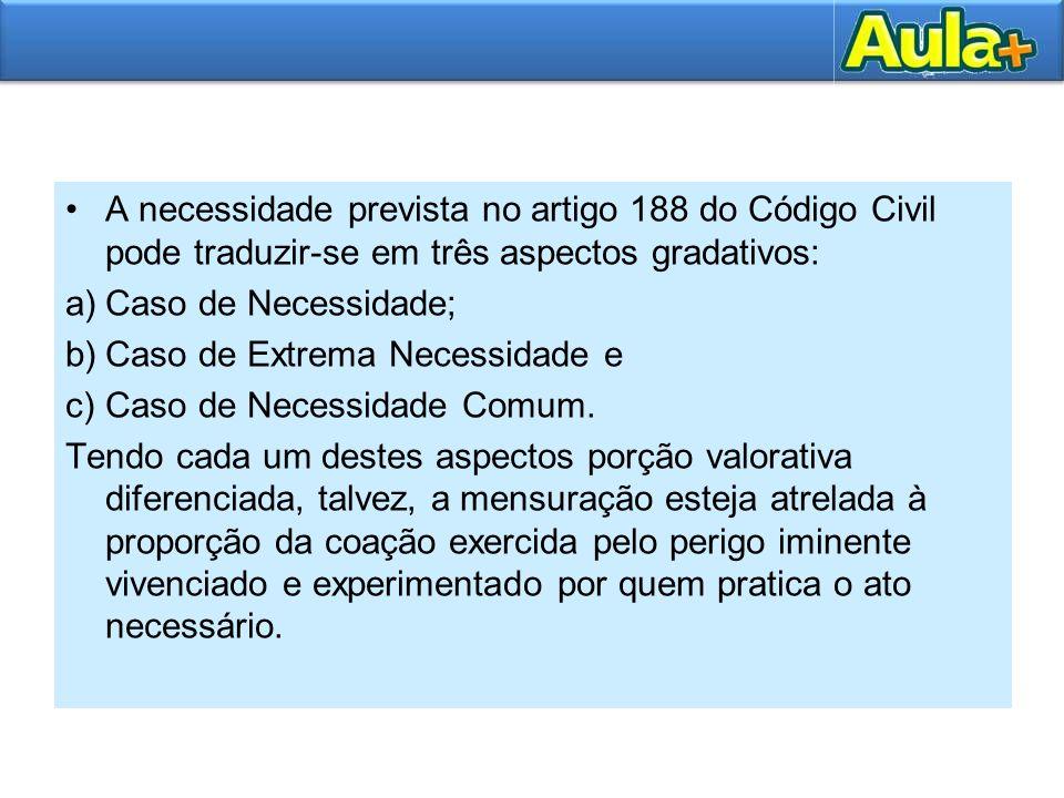 A necessidade prevista no artigo 188 do Código Civil pode traduzir-se em três aspectos gradativos: