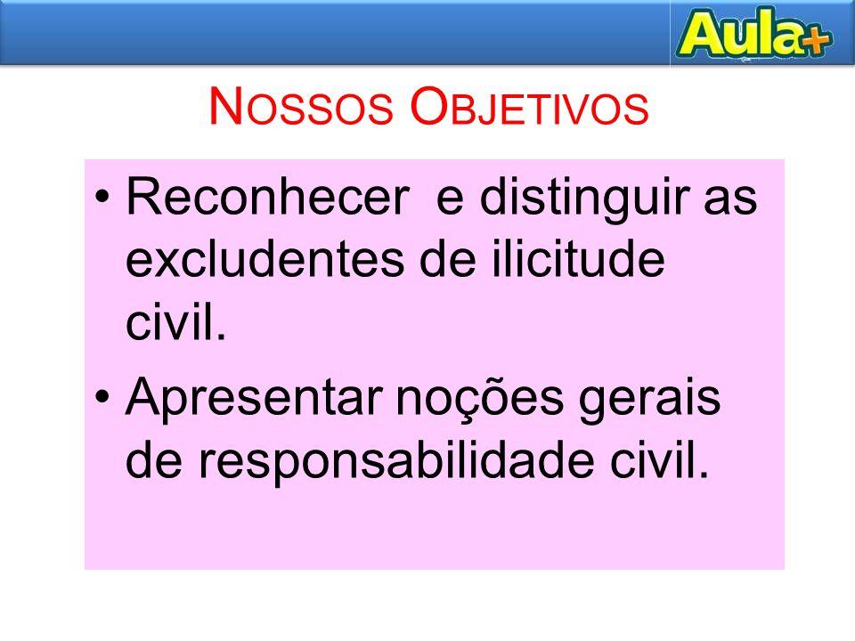 Nossos Objetivos Reconhecer e distinguir as excludentes de ilicitude civil.