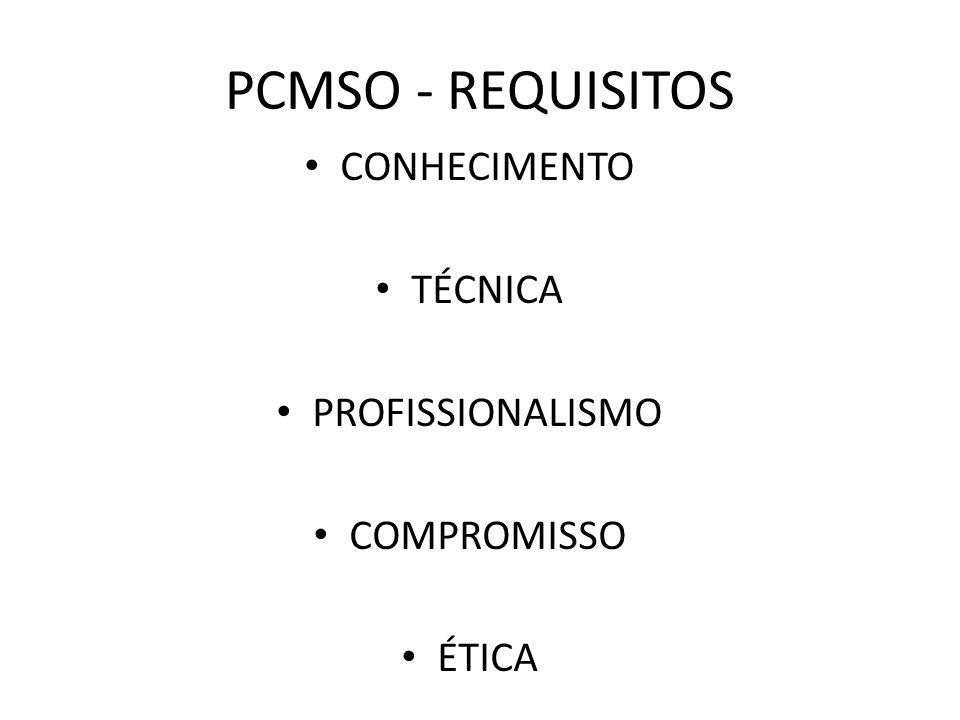 PCMSO - REQUISITOS CONHECIMENTO TÉCNICA PROFISSIONALISMO COMPROMISSO