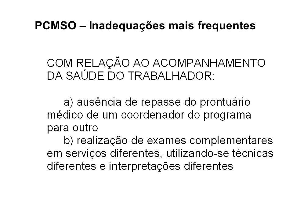 PCMSO – Inadequações mais frequentes
