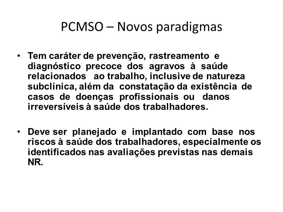 PCMSO – Novos paradigmas