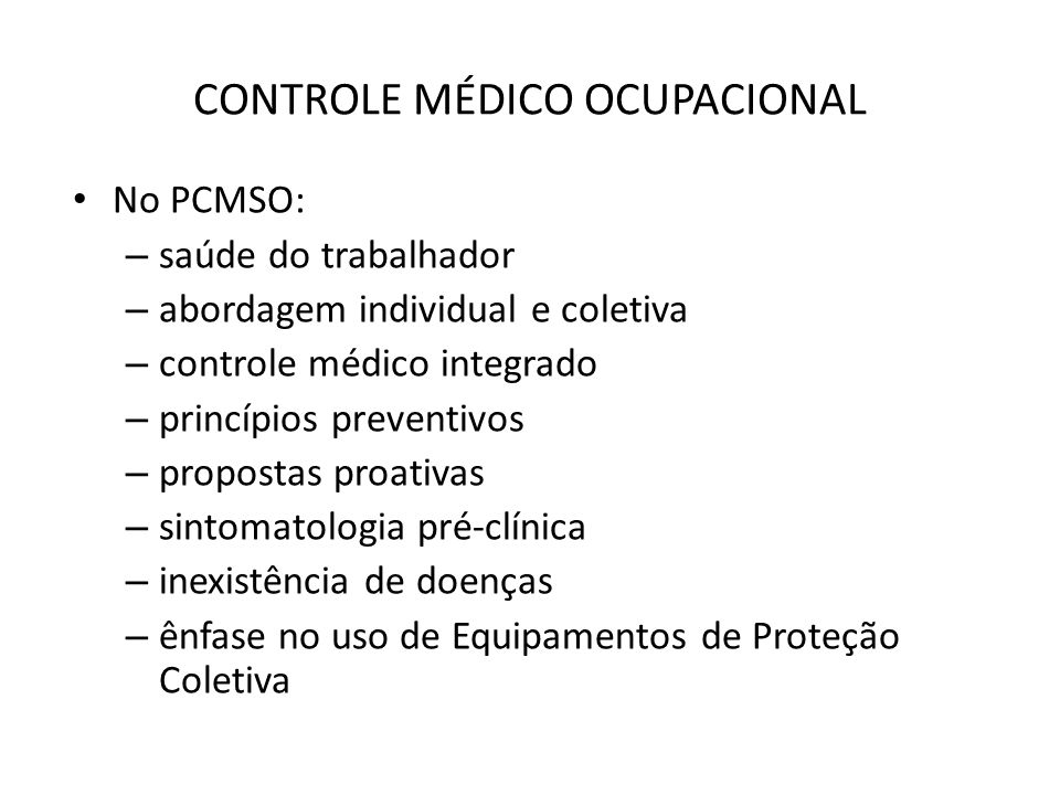 CONTROLE MÉDICO OCUPACIONAL