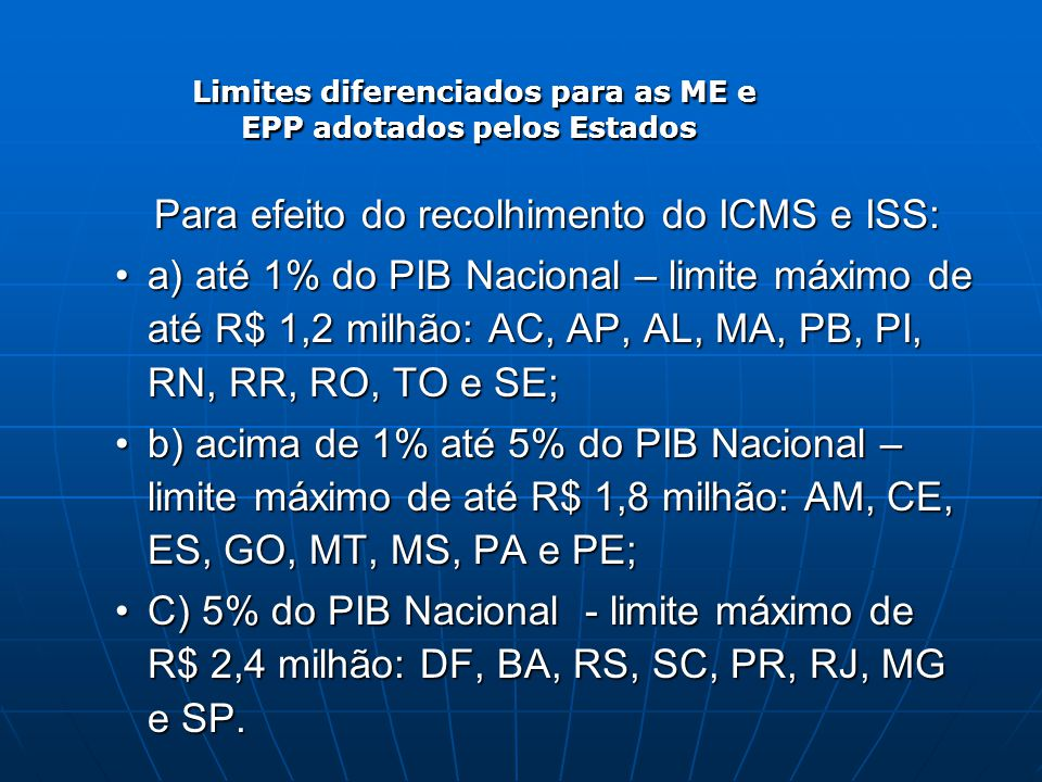 Limites diferenciados para as ME e EPP adotados pelos Estados