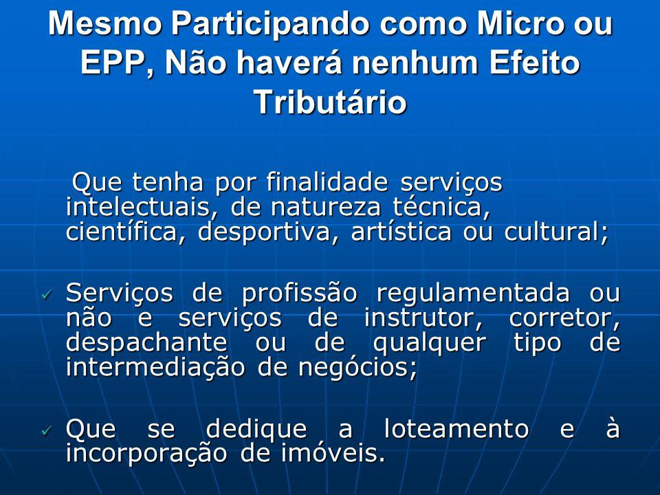 Mesmo Participando como Micro ou EPP, Não haverá nenhum Efeito Tributário