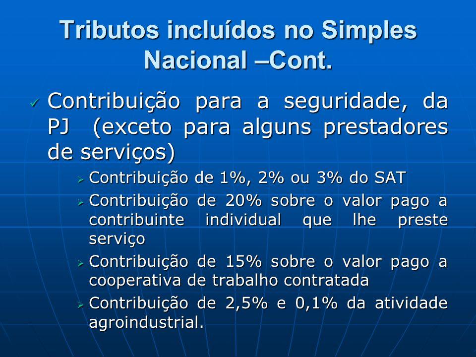 Tributos incluídos no Simples Nacional –Cont.