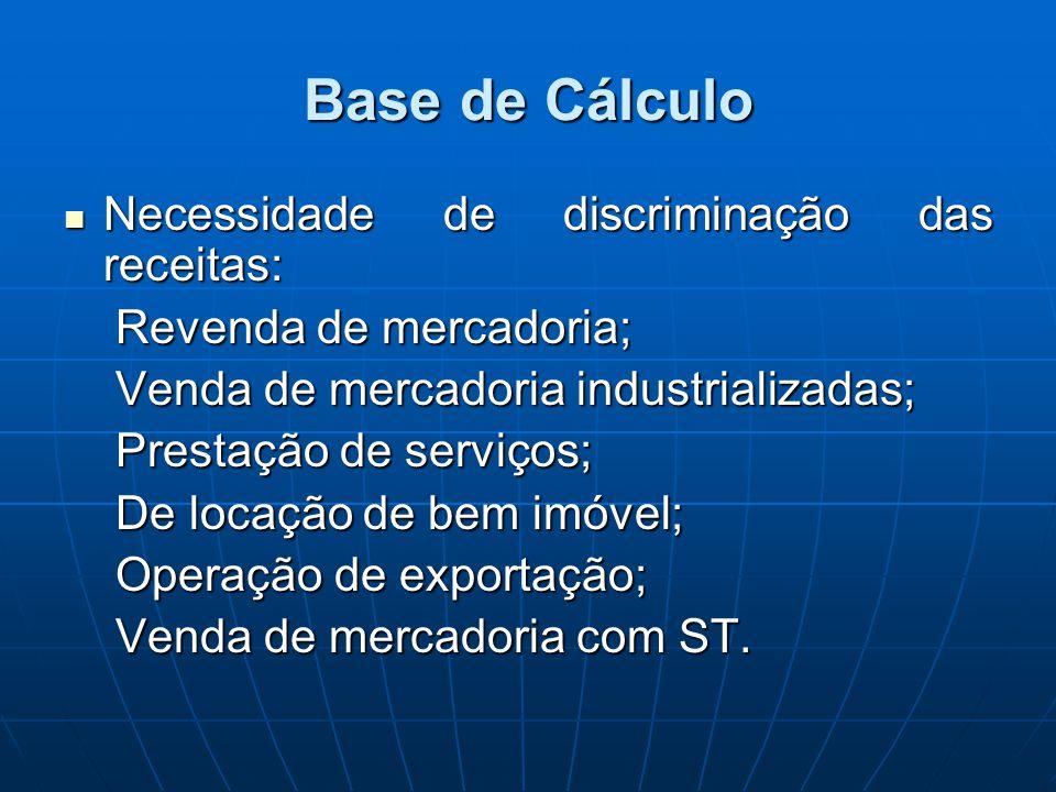 Base de Cálculo Necessidade de discriminação das receitas: