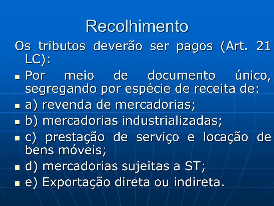 Recolhimento Os tributos deverão ser pagos (Art. 21 LC):