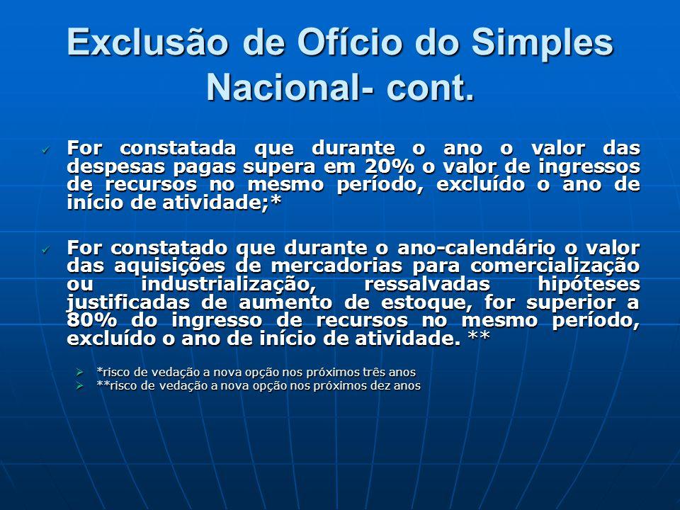 Exclusão de Ofício do Simples Nacional- cont.