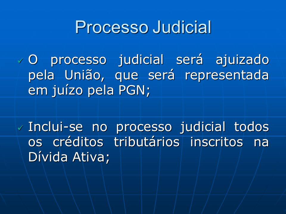 Processo Judicial O processo judicial será ajuizado pela União, que será representada em juízo pela PGN;