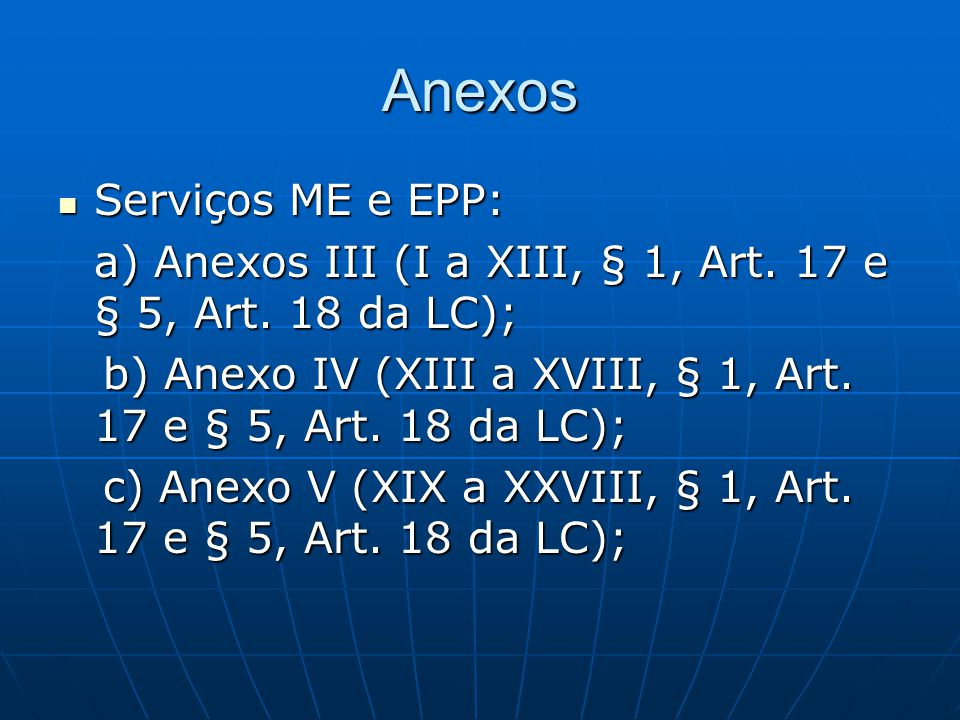 Anexos Serviços ME e EPP: