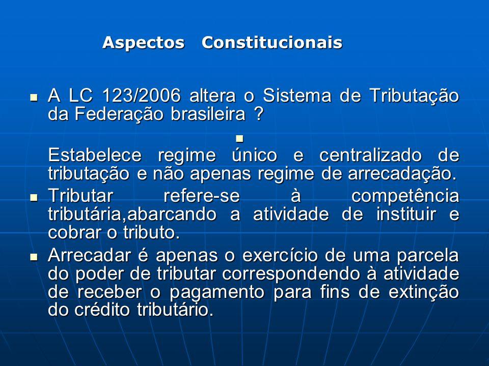 A LC 123/2006 altera o Sistema de Tributação da Federação brasileira