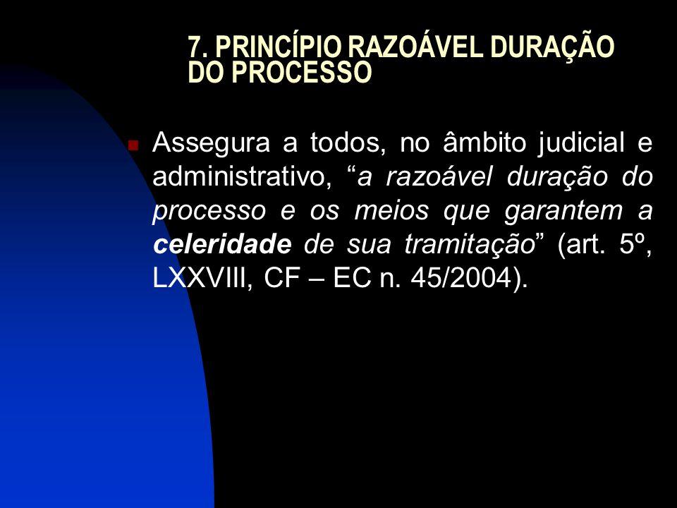 7. PRINCÍPIO RAZOÁVEL DURAÇÃO DO PROCESSO