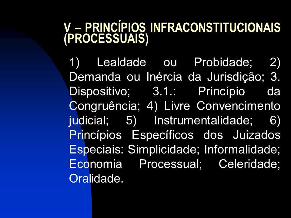V – PRINCÍPIOS INFRACONSTITUCIONAIS (PROCESSUAIS)
