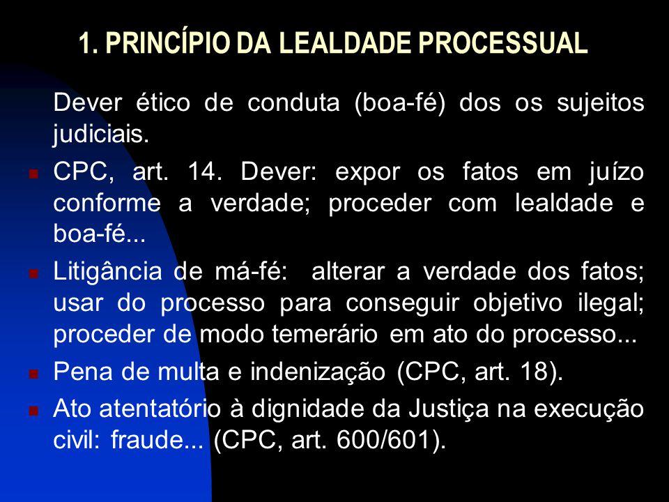 1. PRINCÍPIO DA LEALDADE PROCESSUAL