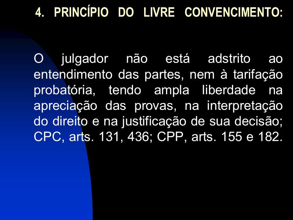 4. PRINCÍPIO DO LIVRE CONVENCIMENTO: