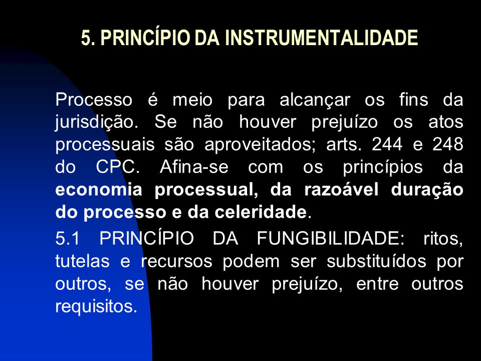 5. PRINCÍPIO DA INSTRUMENTALIDADE