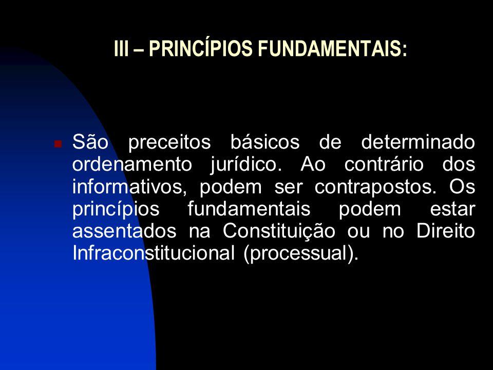 III – PRINCÍPIOS FUNDAMENTAIS: