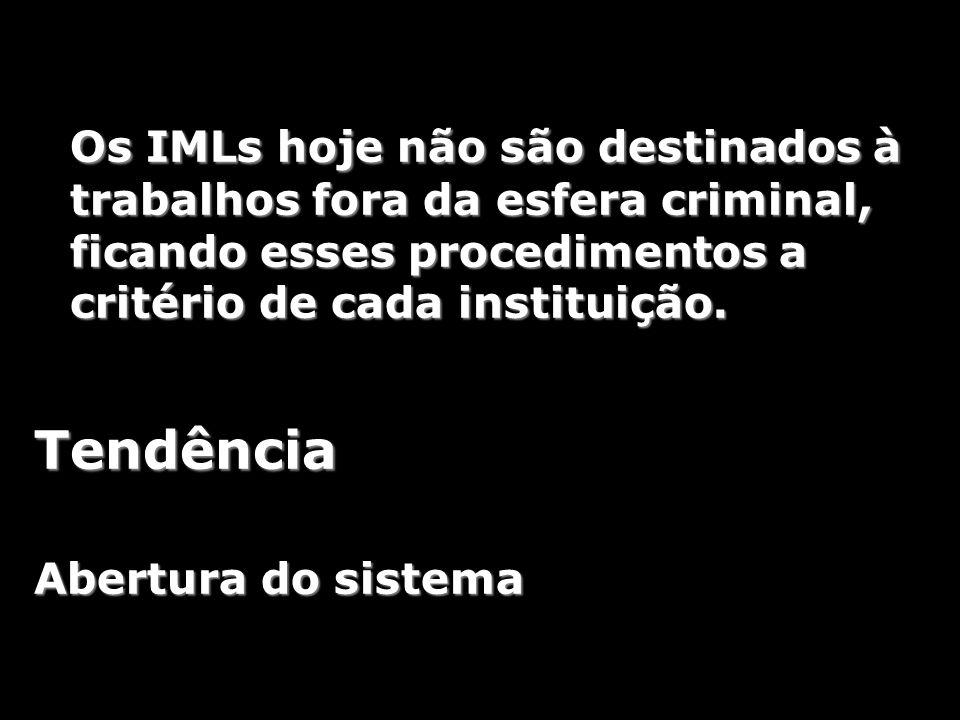 Os IMLs hoje não são destinados à trabalhos fora da esfera criminal, ficando esses procedimentos a critério de cada instituição.