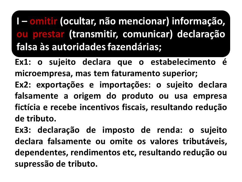 I – omitir (ocultar, não mencionar) informação, ou prestar (transmitir, comunicar) declaração falsa às autoridades fazendárias;