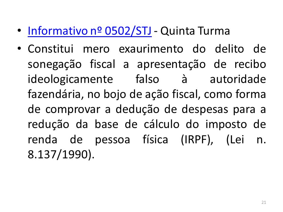 Informativo nº 0502/STJ - Quinta Turma