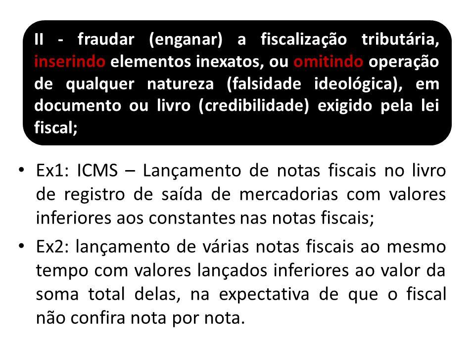 II - fraudar (enganar) a fiscalização tributária, inserindo elementos inexatos, ou omitindo operação de qualquer natureza (falsidade ideológica), em documento ou livro (credibilidade) exigido pela lei fiscal;