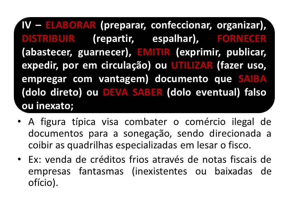 IV – ELABORAR (preparar, confeccionar, organizar), DISTRIBUIR (repartir, espalhar), FORNECER (abastecer, guarnecer), EMITIR (exprimir, publicar, expedir, por em circulação) ou UTILIZAR (fazer uso, empregar com vantagem) documento que SAIBA (dolo direto) ou DEVA SABER (dolo eventual) falso ou inexato;