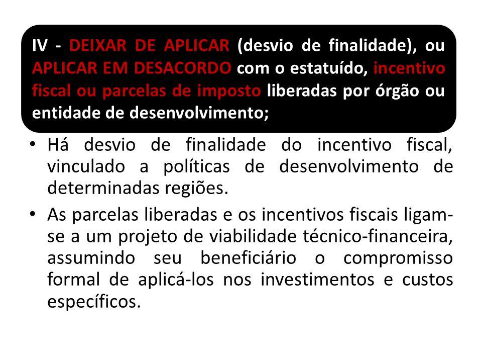 IV - DEIXAR DE APLICAR (desvio de finalidade), ou APLICAR EM DESACORDO com o estatuído, incentivo fiscal ou parcelas de imposto liberadas por órgão ou entidade de desenvolvimento;