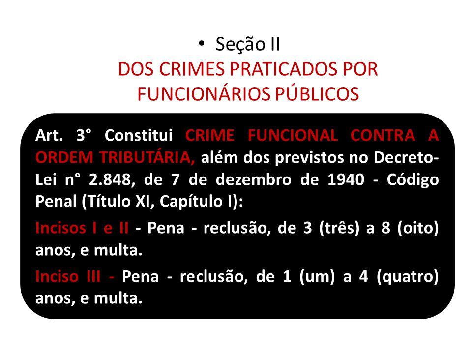 Seção II DOS CRIMES PRATICADOS POR FUNCIONÁRIOS PÚBLICOS