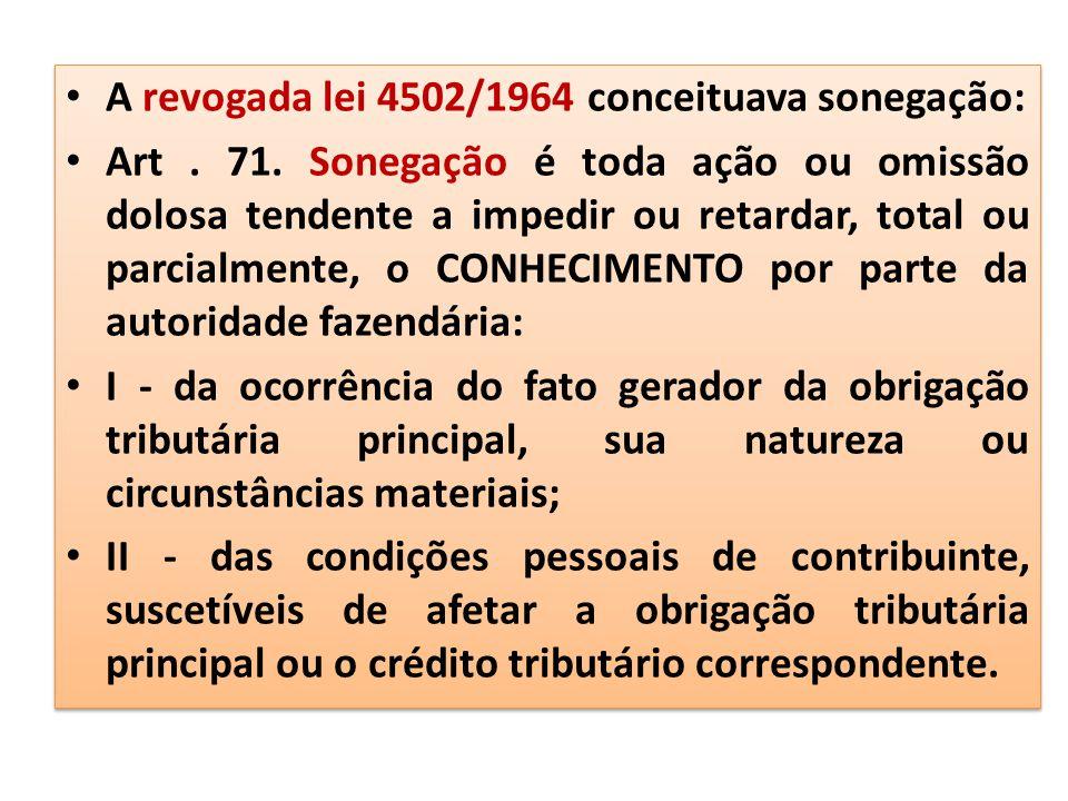 A revogada lei 4502/1964 conceituava sonegação: