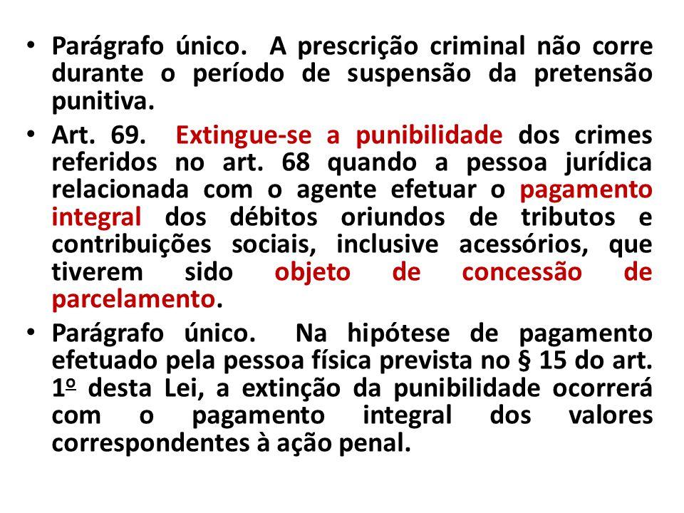 Parágrafo único. A prescrição criminal não corre durante o período de suspensão da pretensão punitiva.