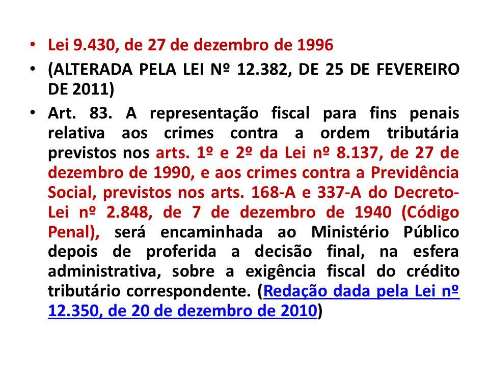 Lei 9.430, de 27 de dezembro de 1996 (ALTERADA PELA LEI Nº 12.382, DE 25 DE FEVEREIRO DE 2011)