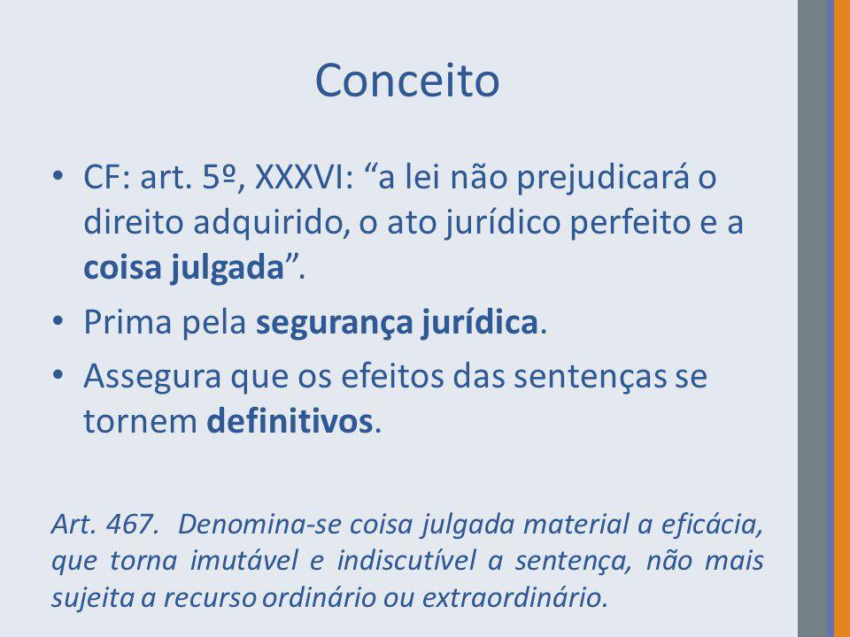 Conceito CF: art. 5º, XXXVI: a lei não prejudicará o direito adquirido, o ato jurídico perfeito e a coisa julgada .