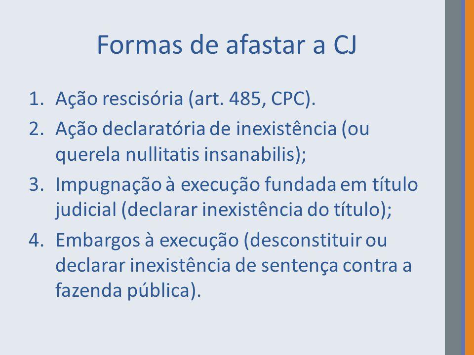 Formas de afastar a CJ Ação rescisória (art. 485, CPC).