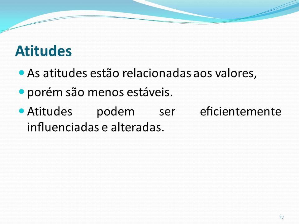 As atitudes estão relacionadas aos valores, porém são menos estáveis.