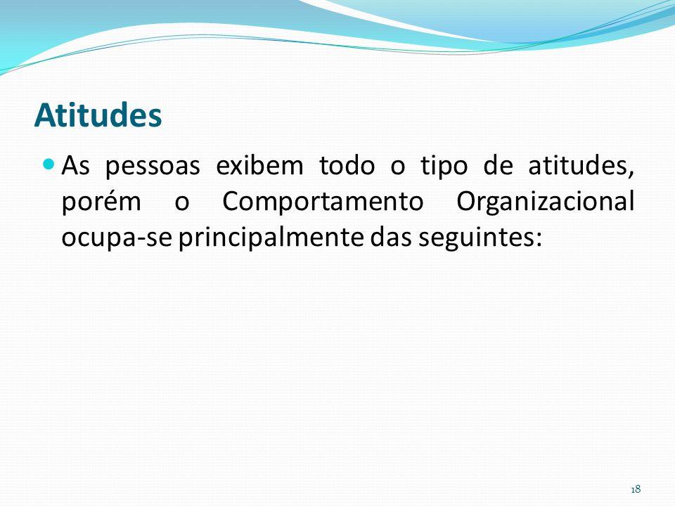 Atitudes As pessoas exibem todo o tipo de atitudes, porém o Comportamento Organizacional ocupa-se principalmente das seguintes:
