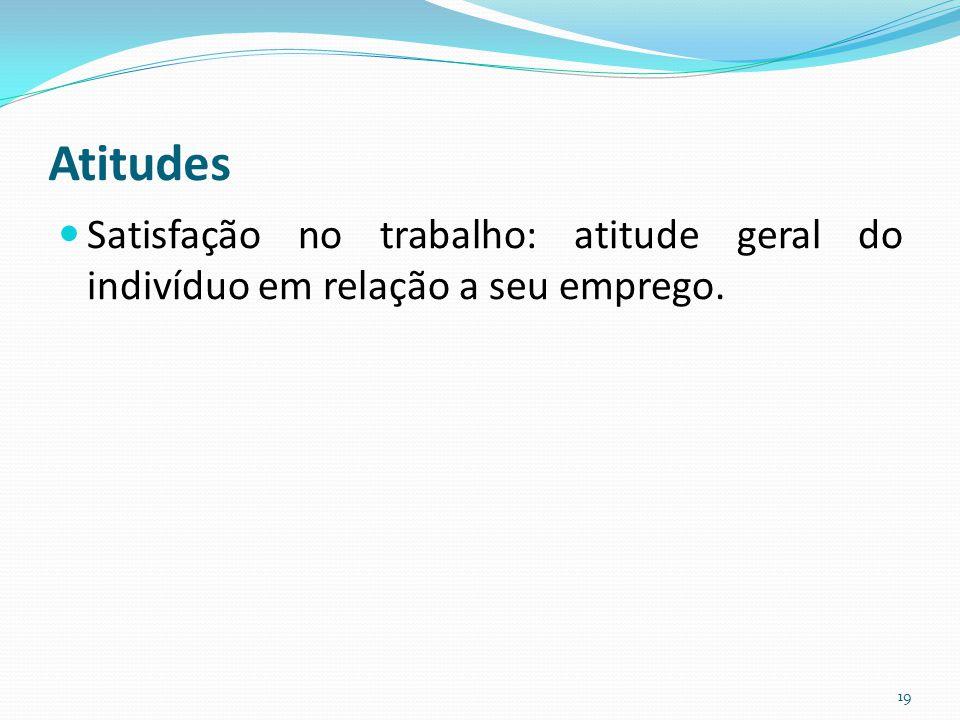 Atitudes Satisfação no trabalho: atitude geral do indivíduo em relação a seu emprego.