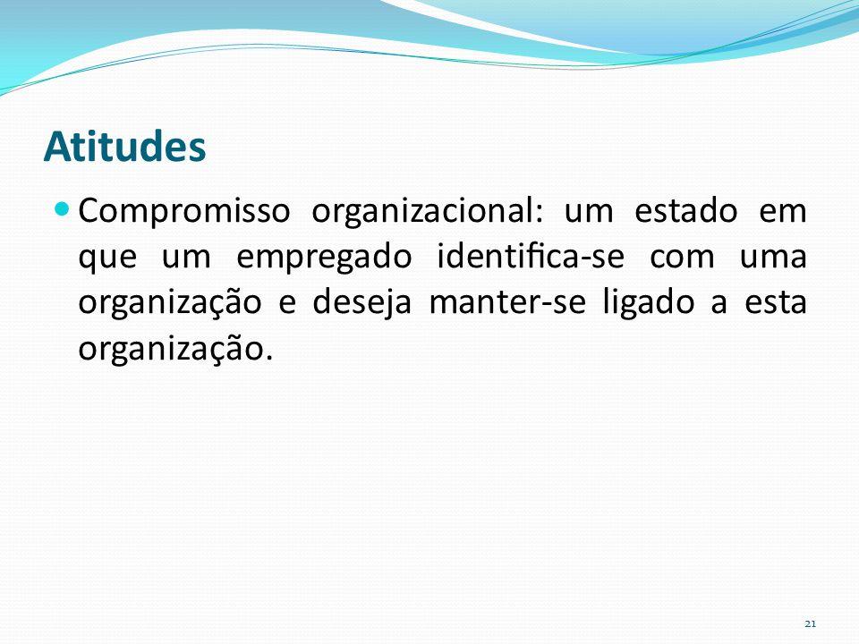Atitudes Compromisso organizacional: um estado em que um empregado identifica-se com uma organização e deseja manter-se ligado a esta organização.