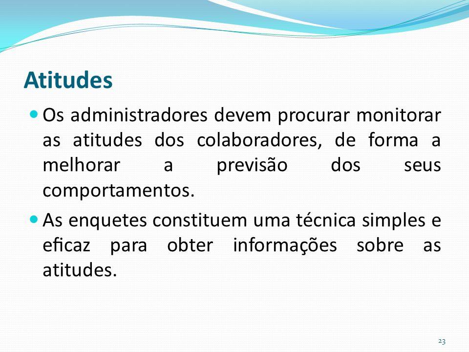 Atitudes Os administradores devem procurar monitorar as atitudes dos colaboradores, de forma a melhorar a previsão dos seus comportamentos.