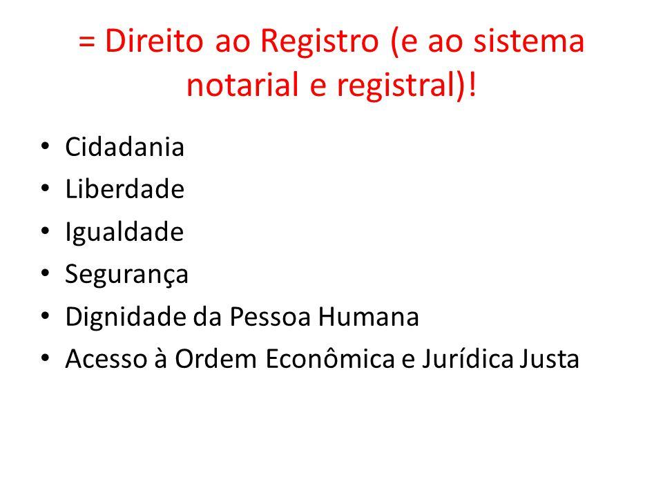 = Direito ao Registro (e ao sistema notarial e registral)!