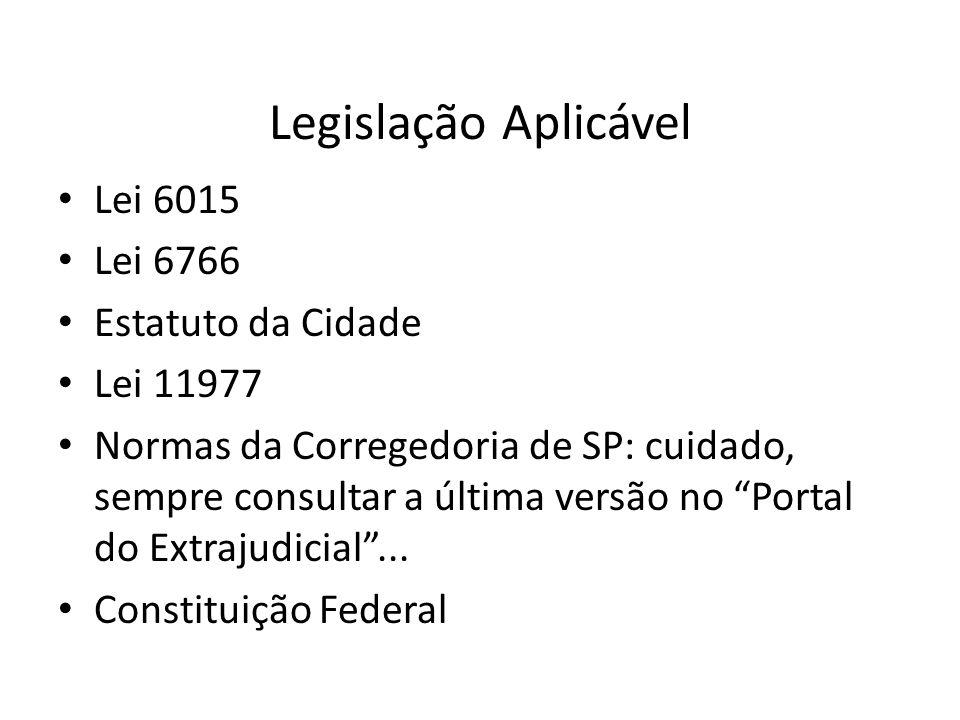 Legislação Aplicável Lei 6015 Lei 6766 Estatuto da Cidade Lei 11977