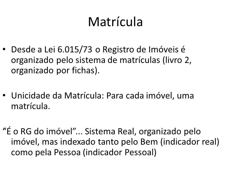 Matrícula Desde a Lei 6.015/73 o Registro de Imóveis é organizado pelo sistema de matrículas (livro 2, organizado por fichas).