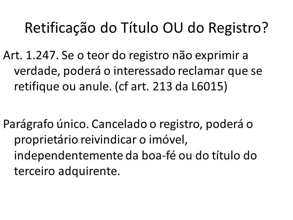 Retificação do Título OU do Registro