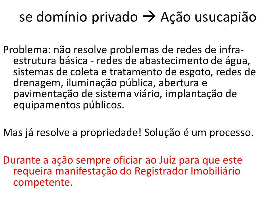se domínio privado  Ação usucapião