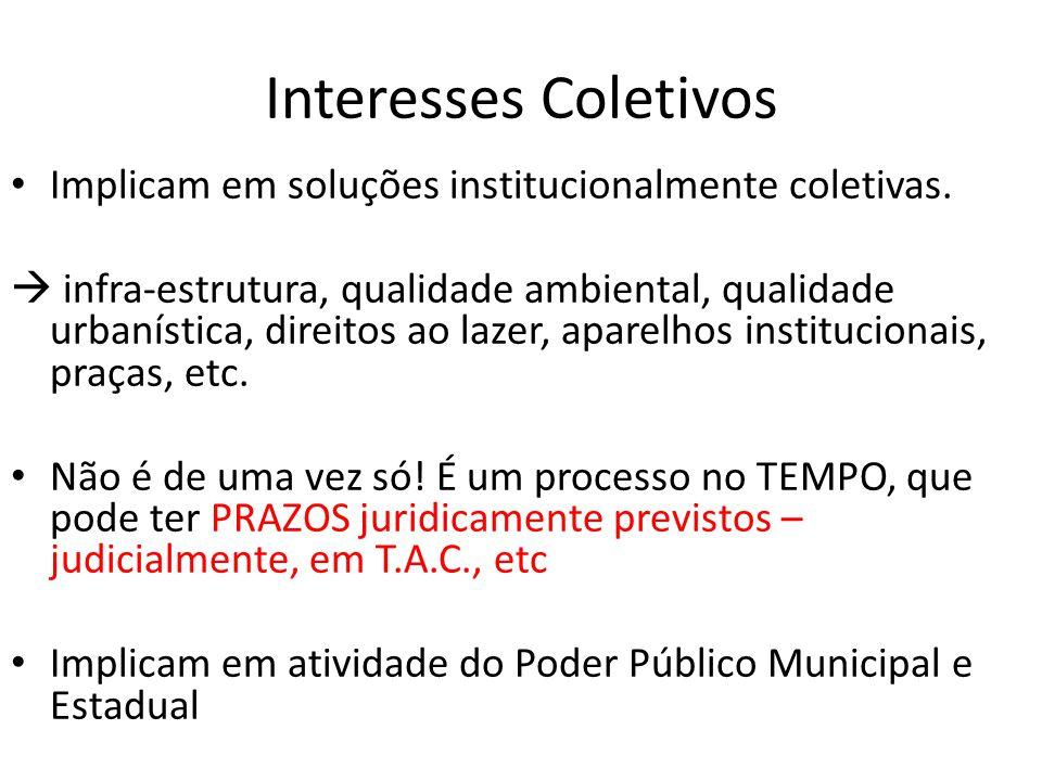 Interesses Coletivos Implicam em soluções institucionalmente coletivas.
