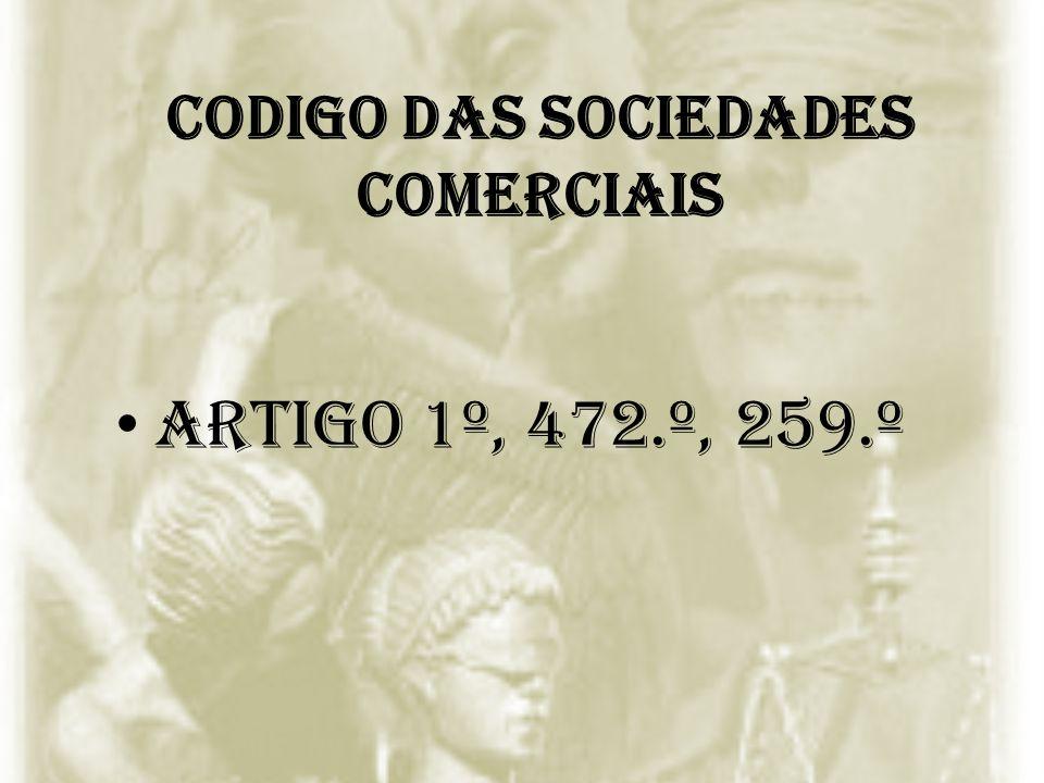 CODIGO DAS SOCIEDADES COMERCIAIS