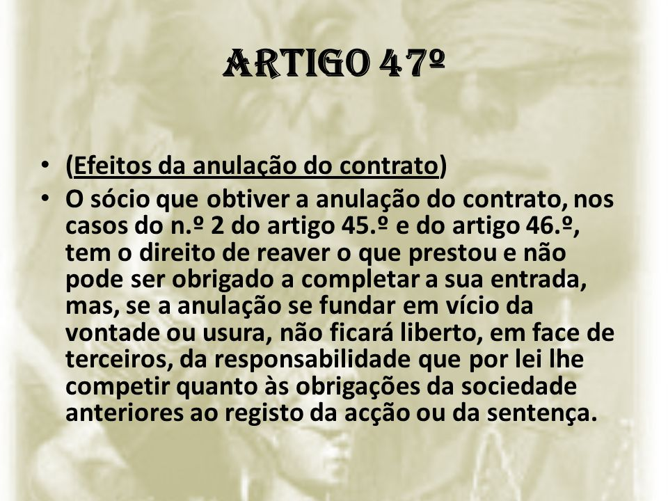 Artigo 47º (Efeitos da anulação do contrato)