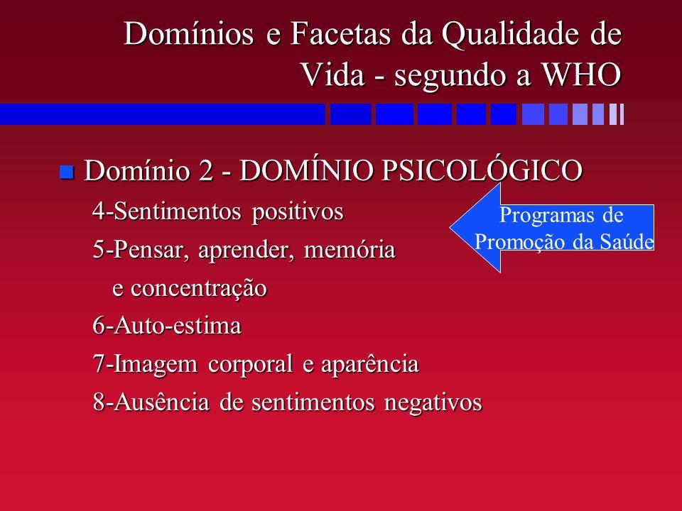 Domínios e Facetas da Qualidade de Vida - segundo a WHO