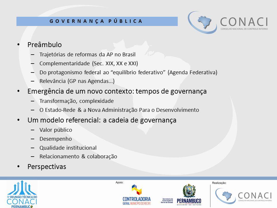 Emergência de um novo contexto: tempos de governança