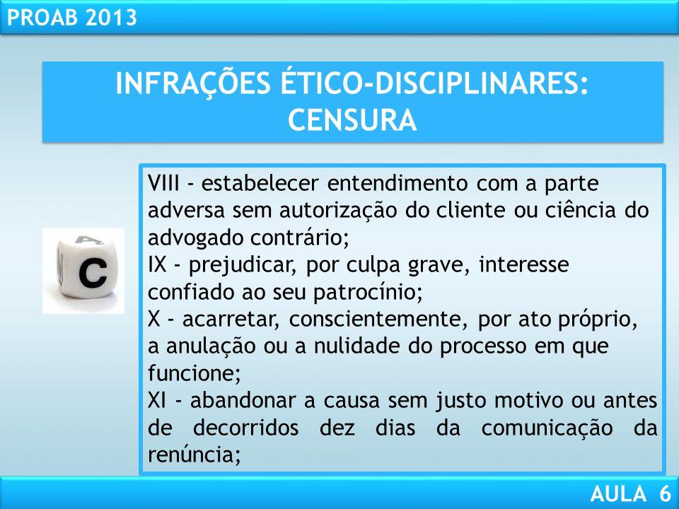 INFRAÇÕES ÉTICO-DISCIPLINARES: CENSURA
